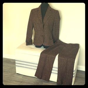 Tweed acrylic wool blend suit 8 10